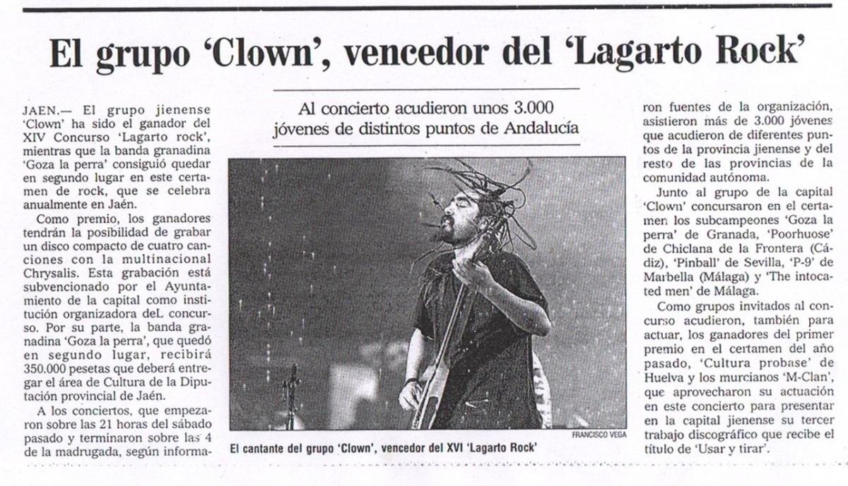 CLOWN ganadores de Lagarto Rock
